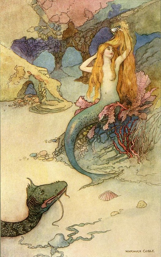 Mermaid painting, Warwick Goble