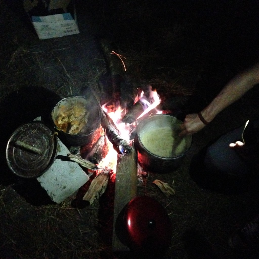 A shot of our impromptu fireside chicken stew.